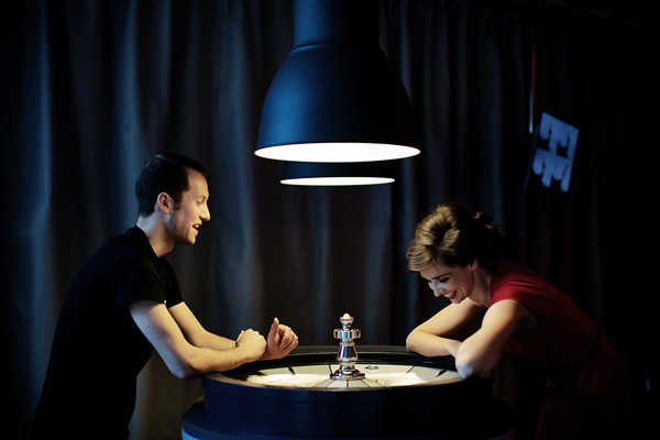 Joe Roche, a mediator at Science Gallery, pictured with Ní Shúilleabháin, co-curator of Risk Lab, at the roulette table